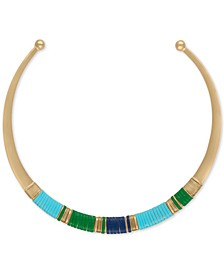 Gold-Tone Multicolor Wrapped Faux Leather Collar Necklace