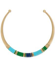 RACHEL Rachel Roy Gold-Tone Multicolor Wrapped Faux Leather Collar Necklace