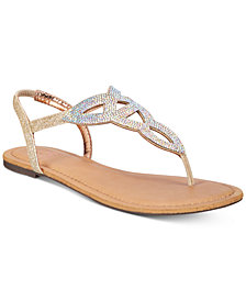Material Girl Swirlz T-Strap Flat Sandals,