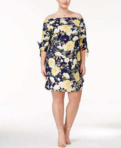 Soprano Trendy Plus Size Off-The-Shoulder Shift Dress