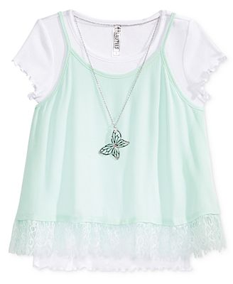 Beautees 2-Pc. Lace Trim Tank, T-Shirt and Necklace Set, Big Girls (7-16)