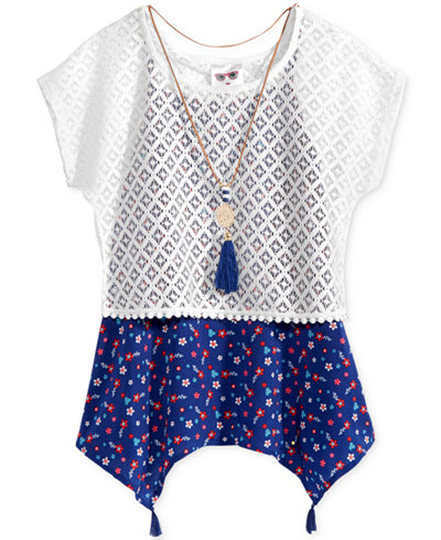 Self Esteem 2-Pc. Lace Popover, Shirt and Necklace Set, Big Girls (7-16)