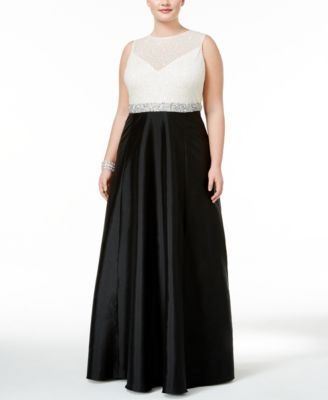 Adrianna Papell Plus Size Beaded Taffeta Gown