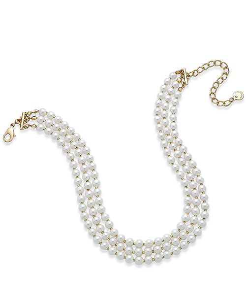 Charter Club Gold-Tone Three-Row Imitation Pearl  Choker Necklace, Created for Macy's