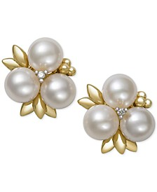 Cultured Freshwater Pearl (6mm) and Diamond Stud Earrings in 14k Gold, Created for Macy's