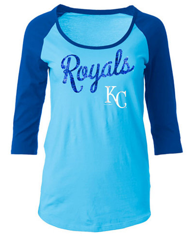 5th & Ocean Women's Kansas City Royals Sequin Raglan T-Shirt