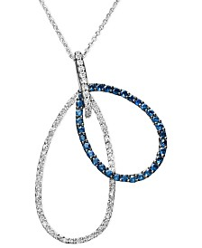 Gemma by EFFY Sapphire (3/4 ct. t.w.) and Diamond (1/3 ct. t.w) Double Drop in 14k White Gold, Created for Macy's