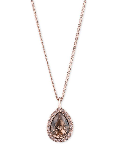 """Givenchy Pavé & Stone Pear Pendant Necklace, 16"""" + 3"""" extender, Created for Macy's"""