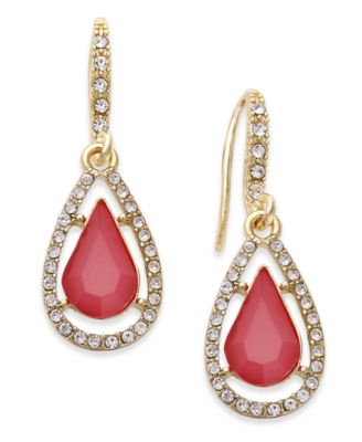 Image of INC International Concepts Gold-Tone Pink Stone and Pavé Teardrop Drop Earrings, Created for Macy's