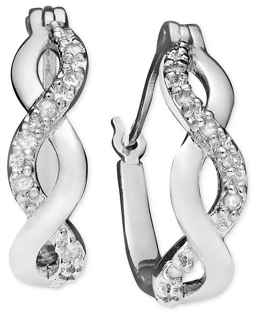 Diamond Infinity Hoop Extra Small Earrings In 18k Gold And Sterling Silver 1 10 Ct T W