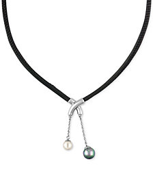 Majorica Silver-Tone Imitation Pearl Black Leather Pendant Necklace