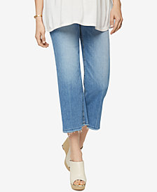 Joe's Jeans Maternity Cropped Light-Wash Wide-Leg Jeans