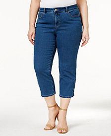 Charter Club Plus Size Bristol Tummy-Control Capri Jeans, Created for Macy's