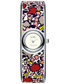 COACH Women's Scout Floral-Print Leather-Inset Stainless Steel Bangle Bracelet Watch 18mm 14502731