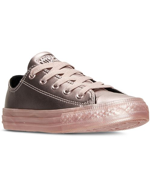 Converse Big Girls' Chuck Taylor Ox Metallic Leather Casual Sneakers from Finish Line