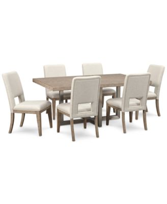 Altair Dining Furniture Set 7Pc Dining Table 6 Side Chairs