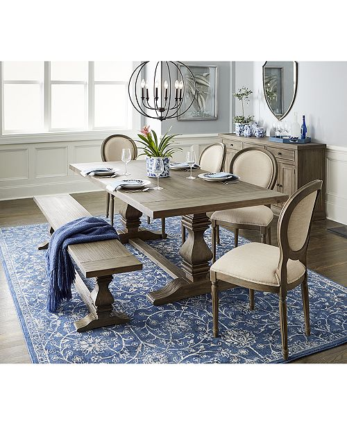 Awesome Tristan Trestle Dining Furniture 6 Pc Set Trestle Dining Table 4 Side Chairs Bench Created For Macys Machost Co Dining Chair Design Ideas Machostcouk