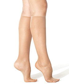 Hanes Women's   Silk Reflections Plus Knee Highs Silky Sheers 00P19