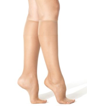 Image of Hanes Silk Reflections Plus Knee Highs Silky Sheers 00P19
