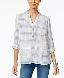 Style & Co Cotton Windowpane-Plaid Top, Created for Macy's