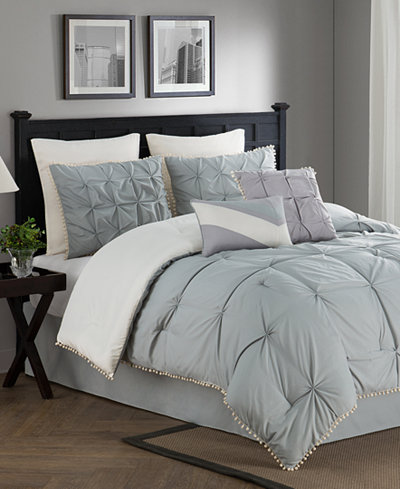 CLOSEOUT! Kiss Pleats Reversible 8-Piece Comforter Sets - Bed in a ...