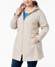 Via Spiga Plus Size Side-Tab Hooded Raincoat