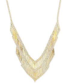 Multi-Bead and Polished Bar Statement Necklace in 14k Gold