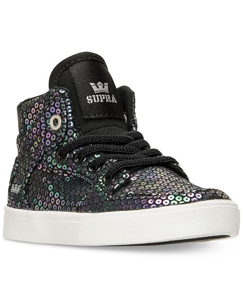 70f39b5a3971 ... SUPRA Toddler Girls  Skytop Sequin High-Top Casual Sneakers from Finish  ...