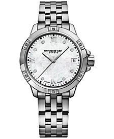 RAYMOND WEIL Women's Swiss Tango Diamond-Accent Stainless Steel Bracelet Watch 30mm 5960-ST-00995