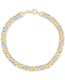 Two-Tone Byzantine Bracelet in 14k Gold and White Gold