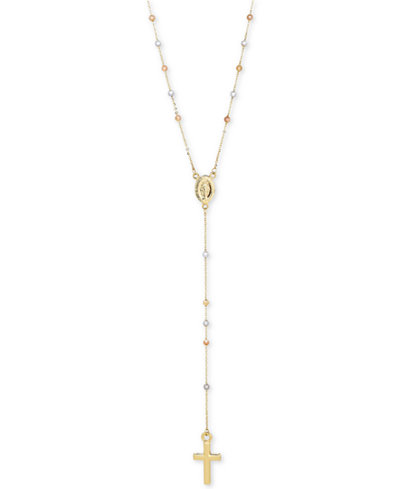 Tri-Tone Beaded Rosary in 14k Gold, White Gold and Rose Gold