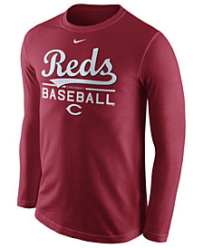 Nike Men's Cincinnati Reds Cotton Practice Long Sleeve T-Shirt