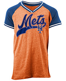 5th & Ocean New York Mets Rhinestone Script T-Shirt, Girls (4-16)