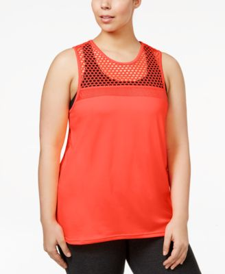 Material Girl Trendy Plus Size Mesh Active Tank Top, Only at Macy's