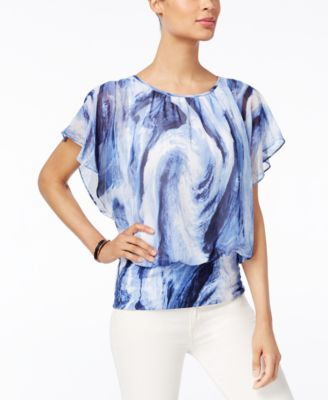 Image of JM Collection Printed Flutter-Sleeve Top, Only at Macy's