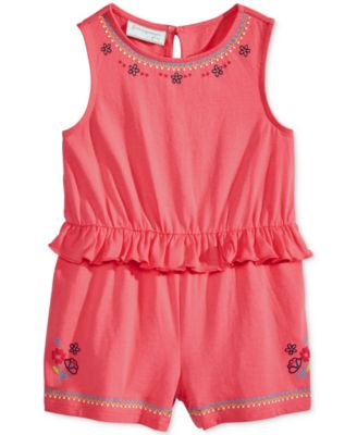 Image of First Impressions Floral-Print Ruffled Cotton Romper, Baby Girls (0-24 months), Only at Macy's