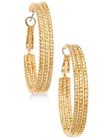 """1 1/2"""" Textured Hoop Earrings"""