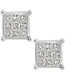 Diamond Quad Cluster Stud Earrings (1/4 ct. t.w.) in 10k White Gold
