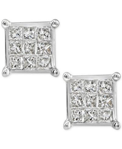 Diamond Quad Cluster Stud Earrings (1/4 ct. t.w.) in 10k White Gold