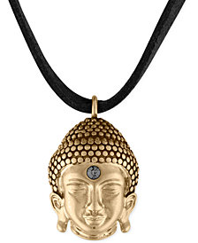 RACHEL Rachel Roy Gold-Tone Buddha Black Suede Pendant Necklace