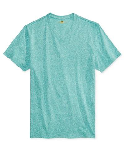 Club Room Men's Rib Knit V-Neck Heathered T-Shirt, Created for Macy's