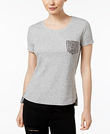 High-Low Thermal Tee with Studded Pocket Design