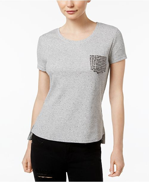 CELESTIAL Blue High-Low Thermal Tee with Studded Pocket Design