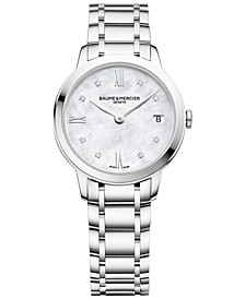 Women's Swiss Classima Diamond-Accent Stainless Steel Bracelet Watch 31mm M0A10326