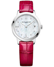 Baume & Mercier Women's Swiss Classima Diamond Accent Fuchsia Alligator Leather Strap Watch 31mm M0A10325
