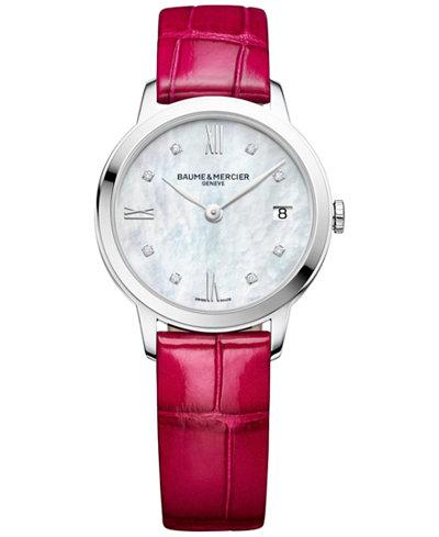 Baume & Mercier Women's Swiss Classima Diamond Accent Fuchsia Alligator Leather Strap Watch 31mm M0A10325
