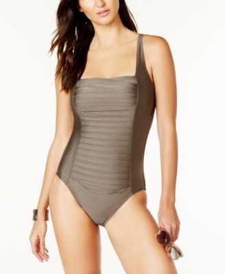Pleated One-Piece Swimsuit,Created for Macy's