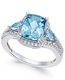 London Blue Topaz (2-5/8 ct. t.w.) and White Topaz (1/4 ct. t.w.) Ring in Sterling Silver