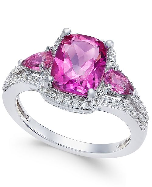 Macy's Pink Topaz (2-1/6 ct. t.w.) and White Topaz (1/4 ct. t.w.) Ring in Sterling Silver