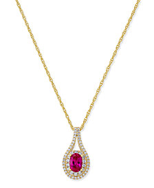 Sapphire (1/2 ct. t.w.) & Diamond (1/4 ct. t.w.) Pendant Necklace in 14k Gold (Also Emerald & Certified Ruby)